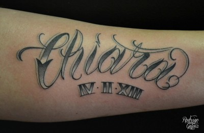 Tattooed name lettering